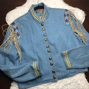 Vintage Double D Ranch wear Denim Military Jacket